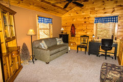 Loft in Log Cabin Stock Photo