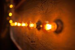 Loft lwarm ight lamp retro vintage style. Backround with electric light Royalty Free Stock Photos
