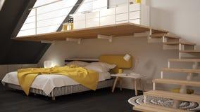 Loft mezzanine scandinavian minimalist bedroom, gary and yellow vector illustration