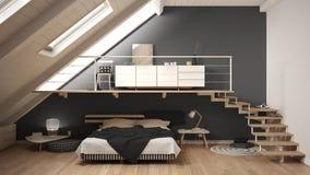 Loft mezzanine scandinavian minimalist bedroom, gray classic int Stock Image