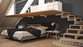 Loft mezzanine scandinavian minimalist bedroom, gray classic int Royalty Free Stock Photography