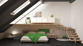 Loft mezzanine scandinavian minimalist bedroom, green and yellow royalty free illustration