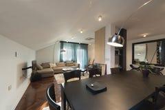 Loft mieszkania wnętrze, łomota teren Fotografia Stock