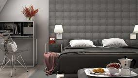Loft minimal bedroom. 3d illustration Royalty Free Stock Image