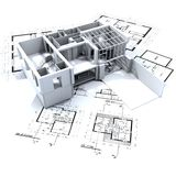 Loft mock-up and blueprints Royalty Free Stock Photo