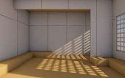 Loft and Modern Contemporary Room and minimal simple wall/3d rendering Royalty Free Stock Image