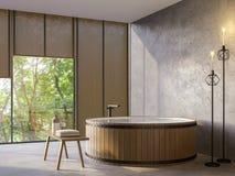 Loft o banheiro do estilo com imagem da rendição da opinião 3d da natureza Imagens de Stock