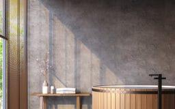 Loft o banheiro do estilo com imagem da rendição da opinião 3d da natureza Fotografia de Stock