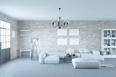 Loft o interior da sala de visitas com a parede preta da porta e de tijolo fotos de stock royalty free