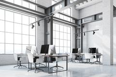 White brick loft office corner, column. Loft office interior with a white table, white brick walls, loft windows and rows of computer tables with black screens stock illustration