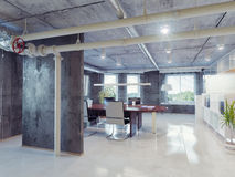 Loft office. Modern loft office interior. 3d design concept Royalty Free Stock Photos