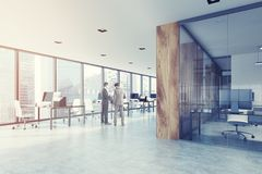 Loft open space office interior, wood, toned Royalty Free Stock Image