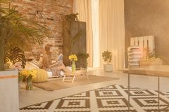 Loft with orangery. Modern designed loft with orangery in living room stock photos