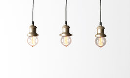 Loft pendant lamps with edison light bulbs. 3d rendering Royalty Free Stock Photo