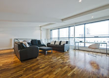 Loft room. Living room of a penthouse placed in loft Stock Image