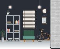Loft room interior. Vector illustration. Royalty Free Stock Image