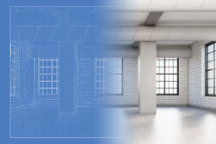 Loft room and its blueprint Royalty Free Stock Photos