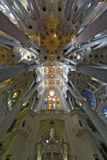 The Loft of  Sagrada Familia in Barcelona , Spain. Barcelonas famous cathedral La Sagrada Familia which was started to be built-up in 1882 Stock Photo