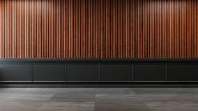 Loft a sala interior, vazia, quadro escuro e a madeira velha wall/3d rende Fotografia de Stock