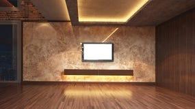 Loft a sala vazia, 3d rendem o design de interiores, zombaria acima da ilustração Ilustração Stock