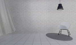Loft and simple living room with chair and wall background-3d re Royalty Free Stock Photos