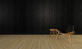 Loft and simple living room and wooden wall background-3d render Royalty Free Stock Photo