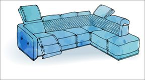 Loft sofa angular modern blue. Outline of a sofa angular modern blue in a vector and watercolor spots, comfortable and cozy upholstered furniture on a white Stock Images