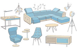 Loft sofa 1 color blue. Sketch of a set of furniture for the living room in the loft ,  workplace, corner sofa, table, color blue, doodle Royalty Free Stock Photography