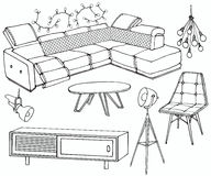Loft sofa 2 living. Sketch of a set of furniture for the living room in the loft , big quilted corner sofa Royalty Free Stock Photography