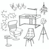 Loft sofa 3 office. Sketch of a set of furniture for room in the loft ,  workplace, home Office Royalty Free Stock Photography