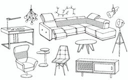 Loft sofa 1. Sketch of a set of furniture for the living room in the loft ,  workplace, big corner sofa, lamp, table Stock Photography