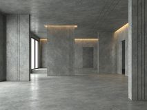 Free Loft Space Empty Room With Concrete Floor And Wall 3d Render Stock Images - 140750344