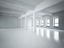 Loft space. Grey concrete walls. Wooden floor. Royalty Free Stock Photos