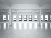 Loft space grey walls. Windows. Royalty Free Stock Images
