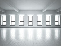Loft space windows. White concrete. Royalty Free Stock Photo