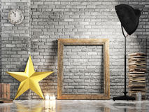 Loft studio, Christmas star, mock up frame Royalty Free Stock Photography