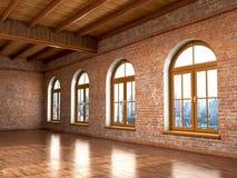 Loft studio Interior in old house. vector illustration