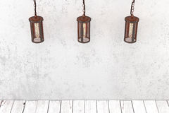 Loft style industrial pendant lamp on a background of a rough wa Royalty Free Stock Photography