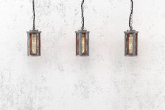 Loft style industrial pendant lamps Royalty Free Stock Images