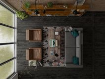 Loft style interior design 3D rendering Royalty Free Stock Images