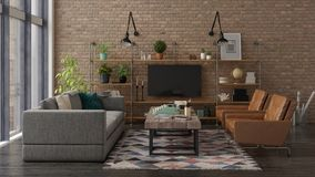 Loft style interior design 3D rendering Royalty Free Stock Photography