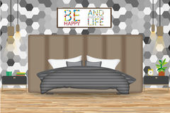 Loft Style Interior Design Vector Illustration.Bed in Front of Wall with Wallpaper. Side Tables,Chandeliers,Artwork.Cartoon Bedroo Royalty Free Stock Image