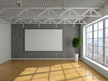Loft. Style interior with a window and a clean slate for information Royalty Free Stock Images