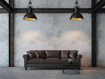 Loft style living room 3d rendering image. There are white brick wall,polished concrete floor and black steel structure.Furnished with dark brown leather sofa Royalty Free Stock Photography