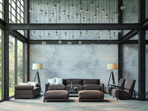 Loft style living room 3d rendering image. There are white brick wall,polished concrete floor and black steel structure.There are large windows look out to see stock illustration