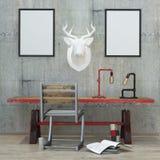 Loft  style  modern interior background, 3D render Stock Image
