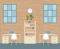 Office in loft style on a brick background royalty free illustration
