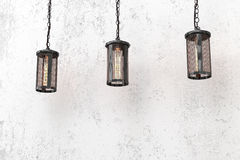 Loft style pendant lamps Royalty Free Stock Photos