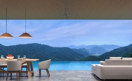 Loft style pool villa living and dining room with mountain view 3d rendering image. The room has polished concrete floor,wood lattice ceiling.Looking out to the royalty free illustration