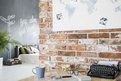 Loft with travel theme interior Stock Photography